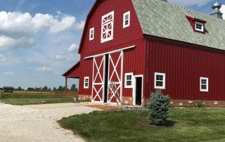 Freshly painted barn